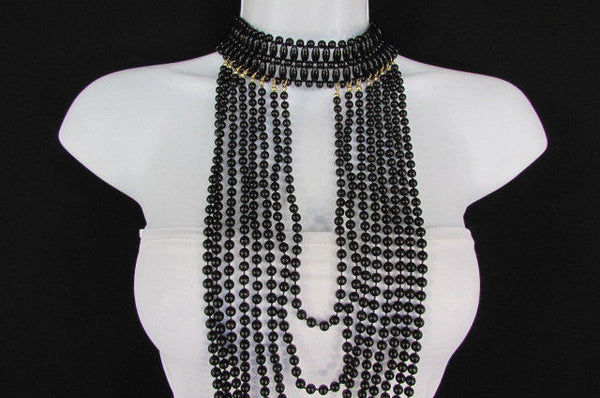 Black / White Metal Beads Extra Long 8 Strands Choker Necklace New Women Fashion - alwaystyle4you - 29