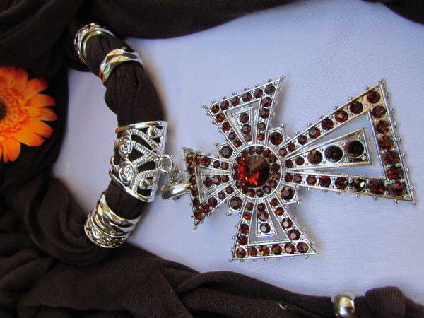 New Women Soft Fabric Dark Brown / Pink Scarf Necklace Western Rhinestones Cross Pendant - alwaystyle4you - 21