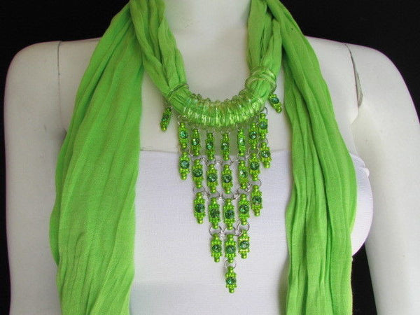 Black White Blue Purple Light Pink Lavander Lime Green Soft Scarf Long Necklace Triangle Big Rhinestones Pendant Women Fashion - alwaystyle4you - 73