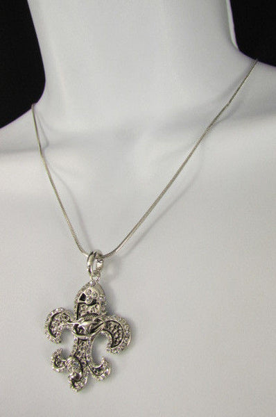 Silver Metal Fleur De Lis Lily Flower Bull Colorfull Rhinestones/ Silver Necklace New Women Fashion - alwaystyle4you - 21