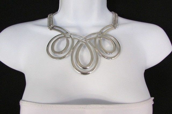 Gold / Silver Twisted 3 Drops Chain Necklace + Earring Set New Women Chunky Fashion - alwaystyle4you - 21