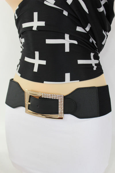 Black / Red / White / Brown Faux Leather Tie Hip Waist Belt Square Gold Rhinestones Buckle New Women Fashion Accessories M L - alwaystyle4you - 15
