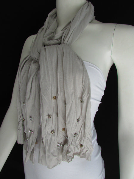 New Women Soft Fabric Fashion White / Blue /  Gray / Black Scarf Long Necklace Silver Metal Stars Studs - alwaystyle4you - 33