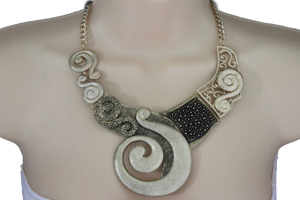 Gold Silver Copper Metal Chain Snail PendantNecklace New Women Fashion + Earrings Set - alwaystyle4you - 22