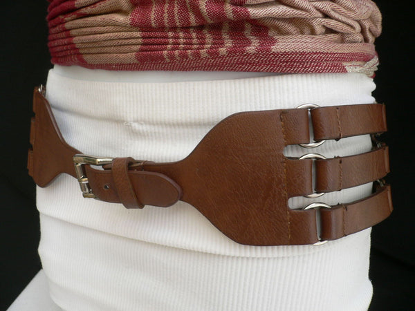 Aqua Blue Taupe Light Brown Black Red Faux Leather Elastic Hip Waist Belt Silver Buckle And Rings Rib Cage Women Fashion Accessories S M - alwaystyle4you - 32