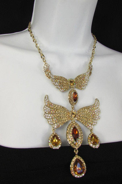Metal Flying Wings Gold Silver Rhinestones Necklace + Earrings set New Women Fashion - alwaystyle4you - 26