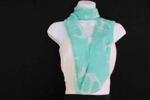 Green Aqua Pink Black White New Women Fashion Fabric Infinity Loop Scarf Big Anchor - alwaystyle4you - 25