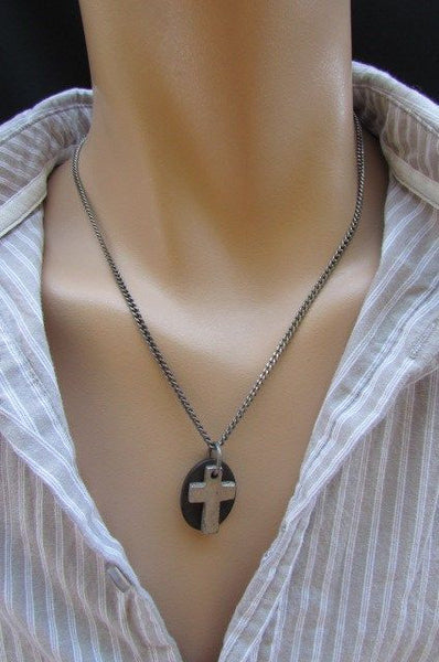 Rusty Silver / Silver Fashion Necklace Chunky Thick Chain Links Cross Pendant Back Oval Platefashion necklace pendant - alwaystyle4you - 22