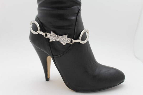 Silver Gunmetal / Pewter Metal Boot Chains Bracelet Bow Oval Anklet Bling Shoe Charm New Women Western - alwaystyle4you - 24