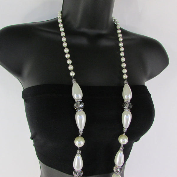 Long Imitations Pearls Necklace Small Gray Beads Beige Silver Color + Earrings Set New Women Fashion - alwaystyle4you - 21