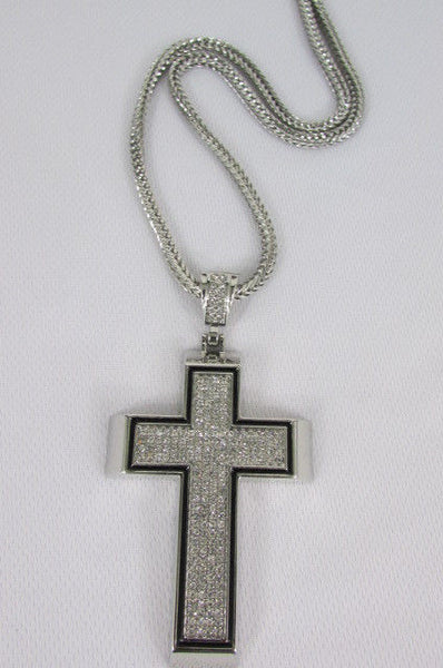Pewter / Silver Metal Chains Long Necklace Boarded Cross Pendant New Men Hip Hop Fashion - alwaystyle4you - 26