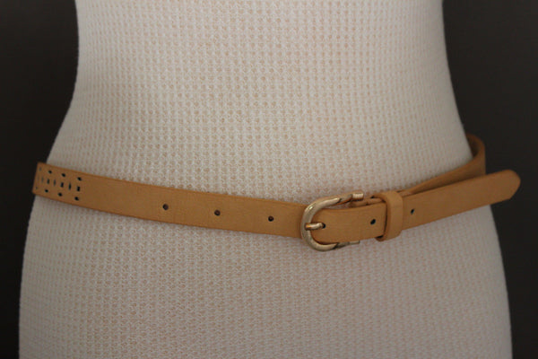 Beige Peach / Black Thin Narrow Faux Leather Belt Bronze Studs Gold Buckle New Women Fashion Accessories S M - alwaystyle4you - 21