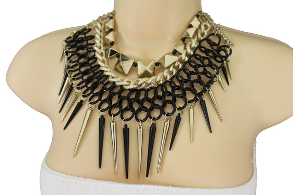 Gold / Black Gold Long Metal Chain Strand Spikes Charm Necklace + Earring Set New Women Fashion Jewelry - alwaystyle4you - 21