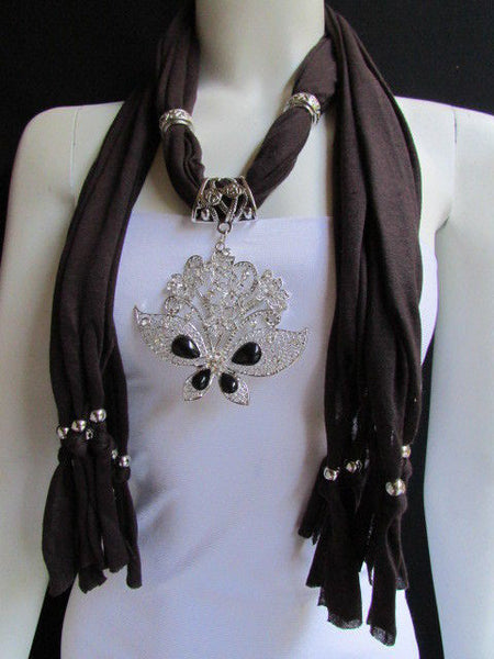 Black Blue Purple Pink Brown Dark Gray Red Bright Coral Green Soft Fabric Scarf Necklace Silver Flowers Butterfly Pendant New Fashion Accessory - alwaystyle4you - 21