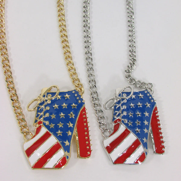 Large Metal High Heels Shoes Pendant Fashion Chains Gold / Silver Rhinestones American Flag USA Stars Necklace + Earrings Set - alwaystyle4you - 24