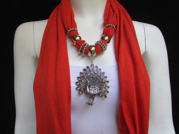 New Women Necklace Fashion Mocha Brown / Blue / Orange / Red / Green / Black Fabric Scarf Long Big Silver Peacock Pendant - alwaystyle4you - 25