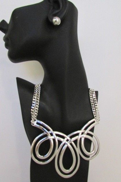 Gold / Silver Twisted 3 Drops Chain Necklace + Earring Set New Women Chunky Fashion - alwaystyle4you - 22