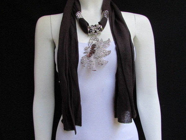 Pink Blue Black Brown Bright Coral Soft Fabric Scarf Long Necklace Big Silver Butterfly Pendant New Women Fashion - alwaystyle4you - 23