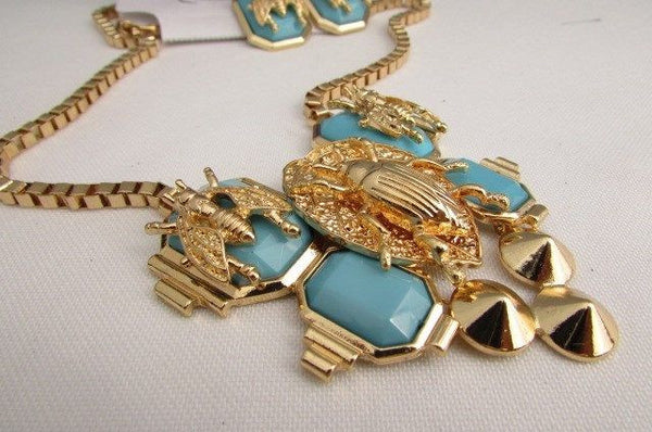 Trendy Blue / Black Bead Insect Flies Bugs Gold Chain Necklace + Matching Earring Set New Women Fashion - alwaystyle4you - 27