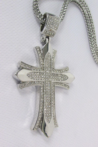 "Silver / Gold Metal Chain 35"" Long Fashion Necklace  Large Cross Pendant New Men - alwaystyle4you - 29"