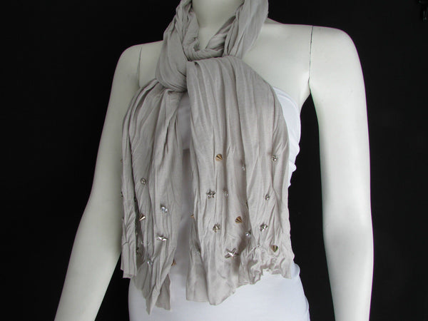 New Women Soft Fabric Fashion White / Blue /  Gray / Black Scarf Long Necklace Silver Metal Stars Studs - alwaystyle4you - 34