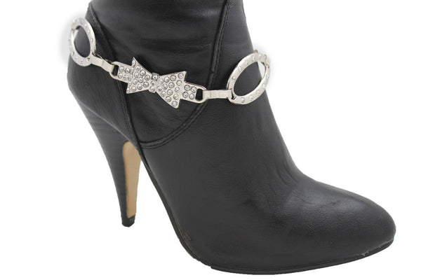 Silver Gunmetal / Pewter Metal Boot Chains Bracelet Bow Oval Anklet Bling Shoe Charm New Women Western - alwaystyle4you - 25