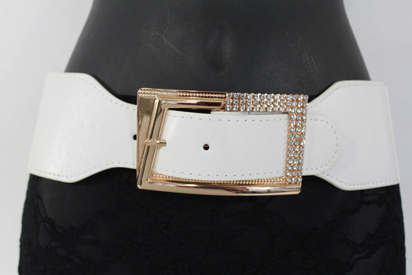 Black / Red / White / Brown Faux Leather Tie Hip Waist Belt Square Gold Rhinestones Buckle New Women Fashion Accessories M L - alwaystyle4you - 20