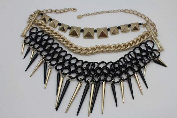 Gold / Black Gold Long Metal Chain Strand Spikes Charm Necklace + Earring Set New Women Fashion Jewelry - alwaystyle4you - 22