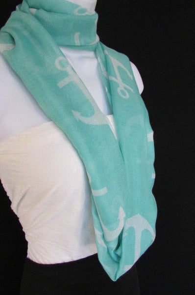 Green Aqua Pink Black White New Women Fashion Fabric Infinity Loop Scarf Big Anchor - alwaystyle4you - 26