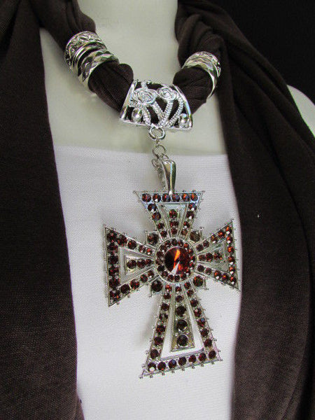 New Women Soft Fabric Dark Brown / Pink Scarf Necklace Western Rhinestones Cross Pendant - alwaystyle4you - 22