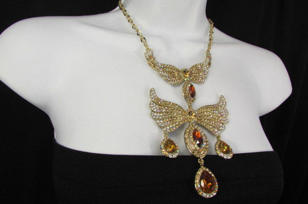 Metal Flying Wings Gold Silver Rhinestones Necklace + Earrings set New Women Fashion - alwaystyle4you - 27