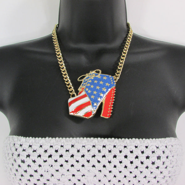 Large Metal High Heels Shoes Pendant Fashion Chains Gold / Silver Rhinestones American Flag USA Stars Necklace + Earrings Set - alwaystyle4you - 25