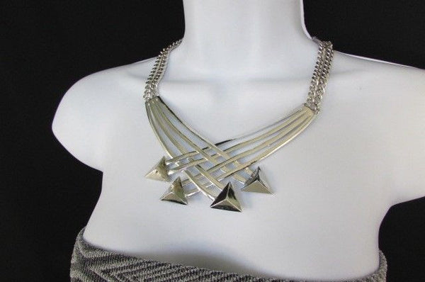 "Gold Silver New Women 14"" Strands Metal Chains Fashion Necklace Arrows + Earring Set - alwaystyle4you - 27"