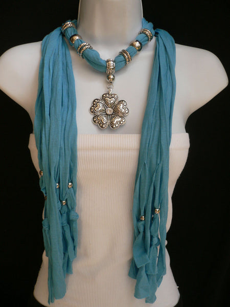 Blue Light Blue Black Dark Brown Light Pink Coral White Soft Scarf Necklace Heart Flower Silver Pendant New Women Fashion 6 Different Colors - alwaystyle4you - 34