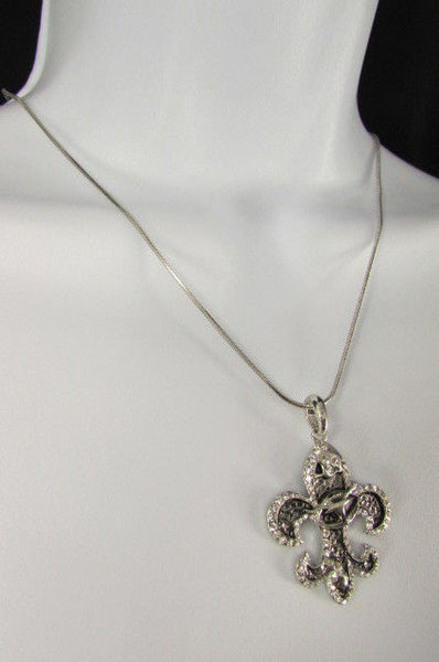 Silver Metal Fleur De Lis Lily Flower Bull Colorfull Rhinestones/ Silver Necklace New Women Fashion - alwaystyle4you - 22