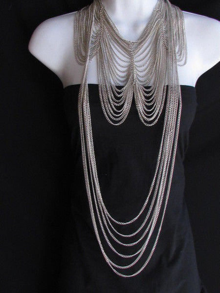 Long Gold / Silver Two Elegant Necklaces + Earring Set Thin Links New Women Fashion Jewelry - alwaystyle4you - 22