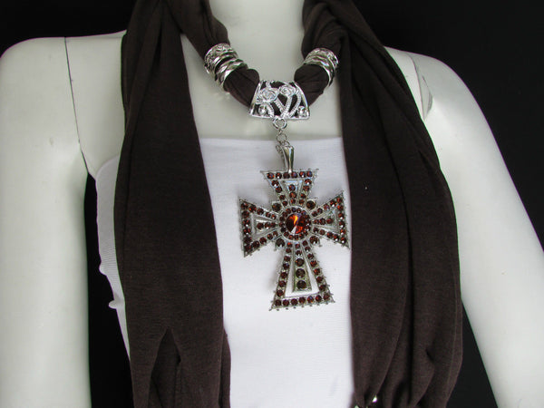 New Women Soft Fabric Dark Brown / Pink Scarf Necklace Western Rhinestones Cross Pendant - alwaystyle4you - 23