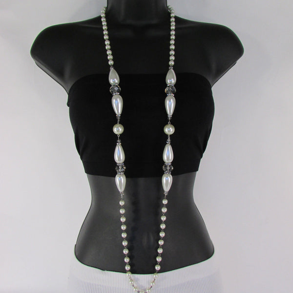 Long Imitations Pearls Necklace Small Gray Beads Beige Silver Color + Earrings Set New Women Fashion - alwaystyle4you - 23