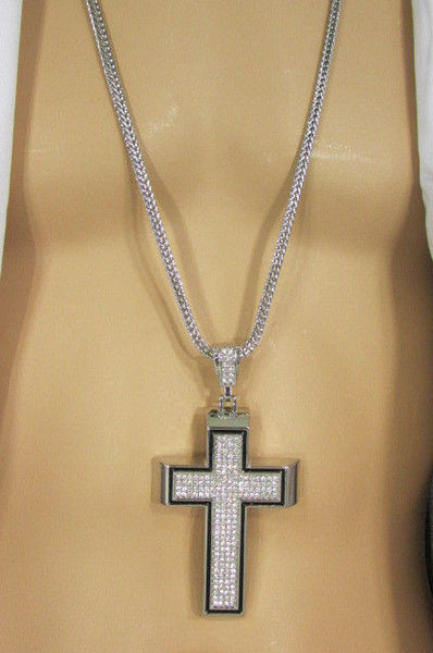 Pewter / Silver Metal Chains Long Necklace Boarded Cross Pendant New Men Hip Hop Fashion - alwaystyle4you - 28