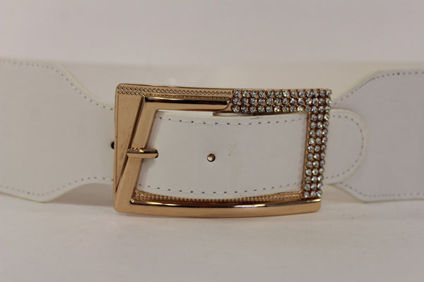 Black / Red / White / Brown Faux Leather Tie Hip Waist Belt Square Gold Rhinestones Buckle New Women Fashion Accessories M L - alwaystyle4you - 21