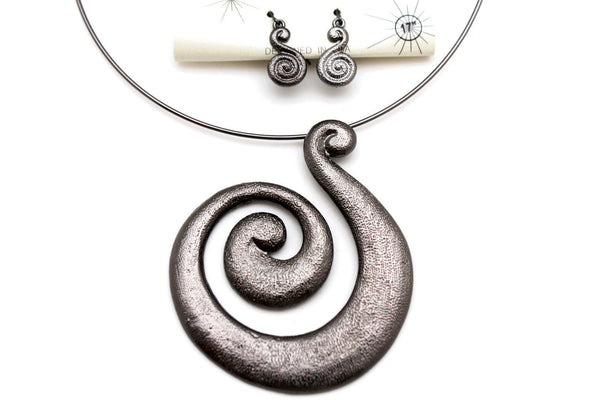 Silver / Pewter Black Choker Thin Metal Snail Spin Swirl Charm Necklace + Earrings Set New Women Fashion Jewelry - alwaystyle4you - 23
