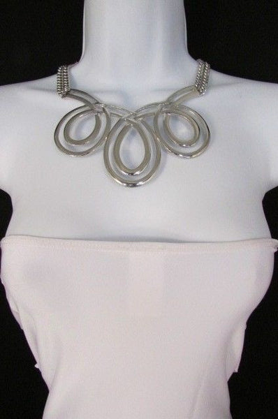Gold / Silver Twisted 3 Drops Chain Necklace + Earring Set New Women Chunky Fashion - alwaystyle4you - 23