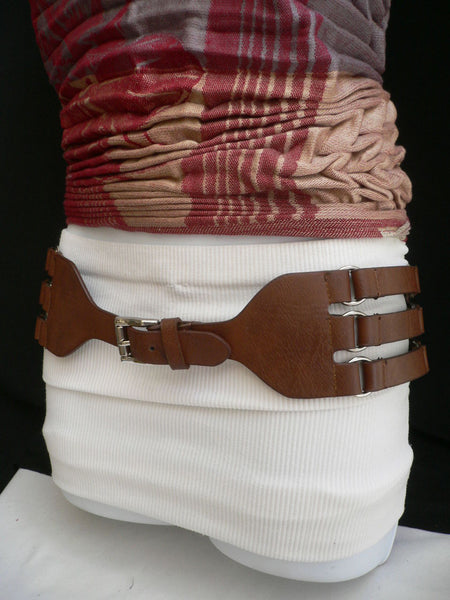 Aqua Blue Taupe Light Brown Black Red Faux Leather Elastic Hip Waist Belt Silver Buckle And Rings Rib Cage Women Fashion Accessories S M - alwaystyle4you - 34