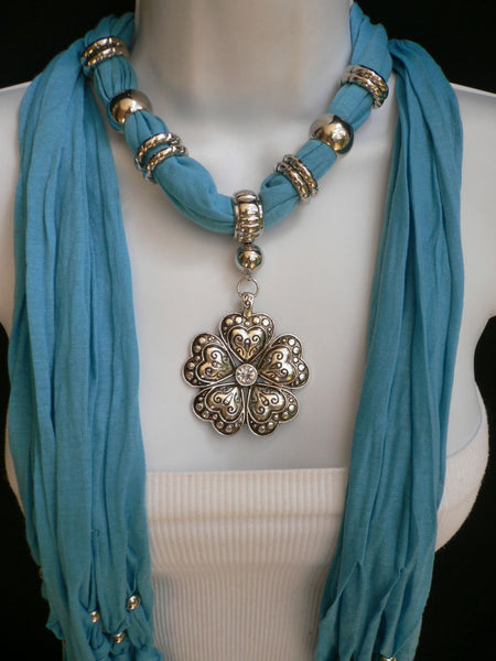 Blue Light Blue Black Dark Brown Light Pink Coral White Soft Scarf Necklace Heart Flower Silver Pendant New Women Fashion 6 Different Colors - alwaystyle4you - 35