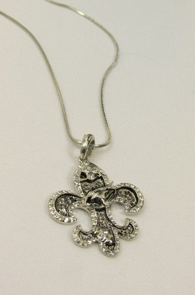 Silver Metal Fleur De Lis Lily Flower Bull Colorfull Rhinestones/ Silver Necklace New Women Fashion - alwaystyle4you - 23
