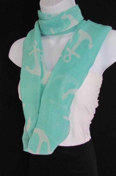 Green Aqua Pink Black White New Women Fashion Fabric Infinity Loop Scarf Big Anchor - alwaystyle4you - 27