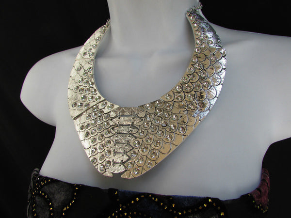 Gold /  Silver Metal Plates Snake Skin Rhinestones Necklace + Earrings Set New Women Fashion - alwaystyle4you - 23