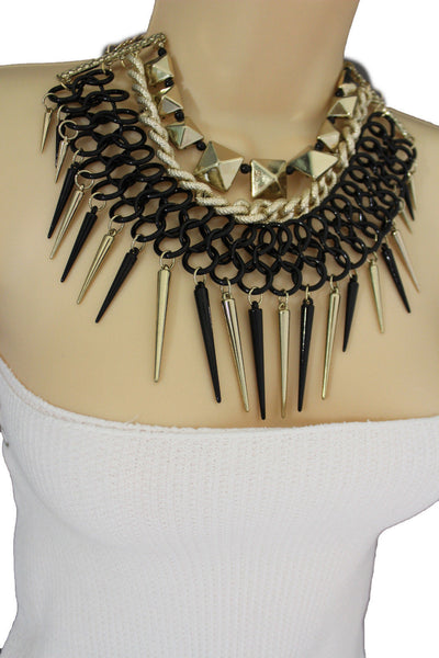Gold / Black Gold Long Metal Chain Strand Spikes Charm Necklace + Earring Set New Women Fashion Jewelry - alwaystyle4you - 23