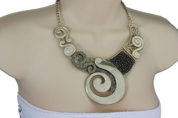 Gold Silver Copper Metal Chain Snail PendantNecklace New Women Fashion + Earrings Set - alwaystyle4you - 24