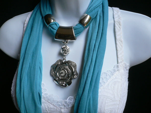 Gray / Red / L. Purple / L. Blue New Women Necklace Scarf Moroccan Fashion Soft Fabric Long Silver Flower Pendant Charm - alwaystyle4you - 23